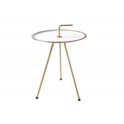 Háromlábú asztalka 42 cm, fehér-arany - CIBLE